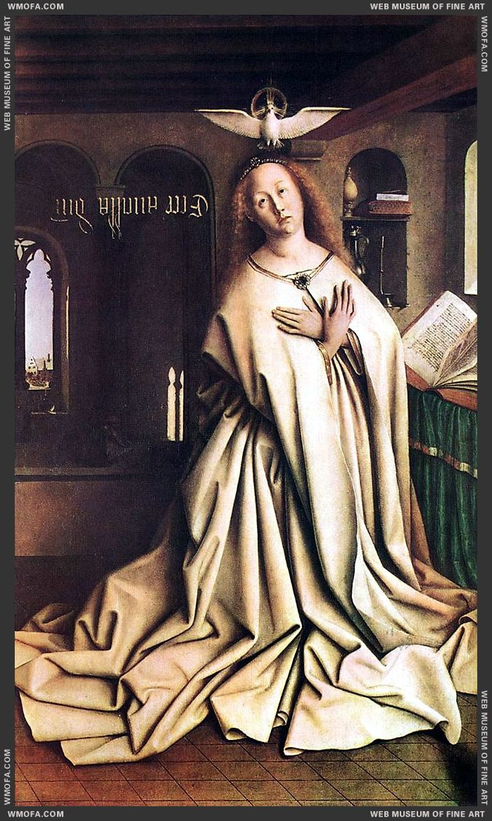 The Ghent Altarpiece - Mary of the Annunciation 1432 by Eyck, Jan van