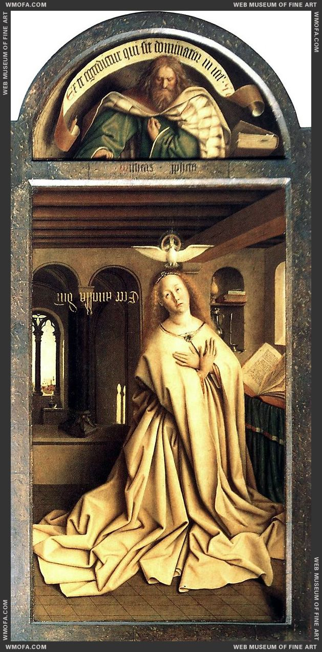 The Ghent Altarpiece - Prophet Micheas Mary of the Annunciation 1432 by Eyck, Jan van