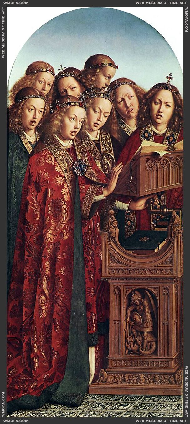 The Ghent Altarpiece - Singing Angels 1427-1429 by Eyck, Jan van