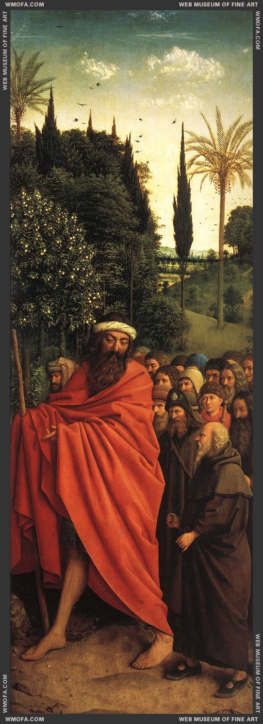 The Ghent Altarpiece - The Holy Pilgrims 1427-1430 by Eyck, Jan van