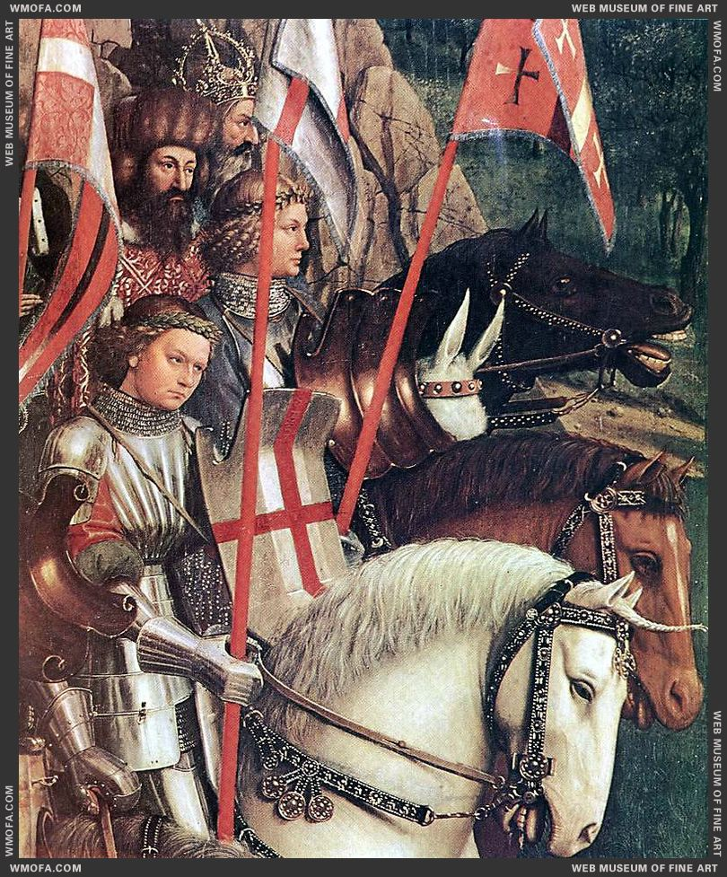 The Ghent Altarpiece - The Soldiers of Christ - detail 1427-1430 by Eyck, Jan van