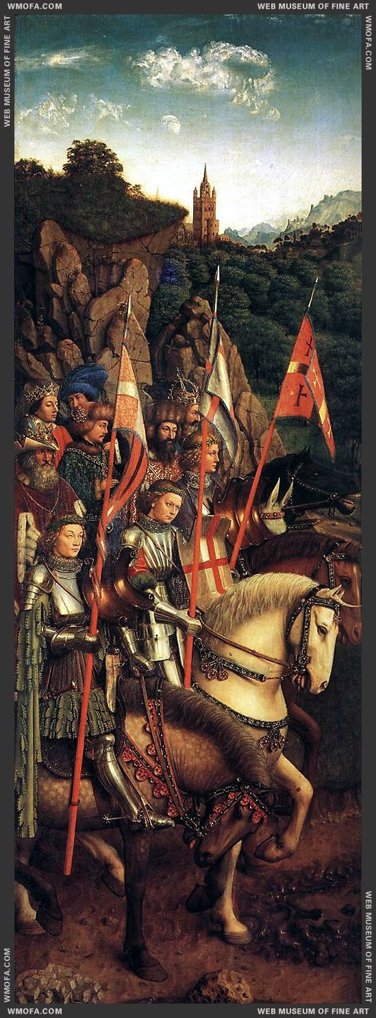 The Ghent Altarpiece - The Soldiers of Christ 1427-1430 by Eyck, Jan van