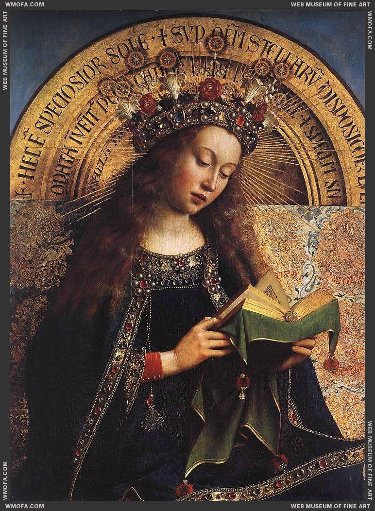 The Ghent Altarpiece - Virgin Mary - detail 1426-1429 by Eyck, Jan van
