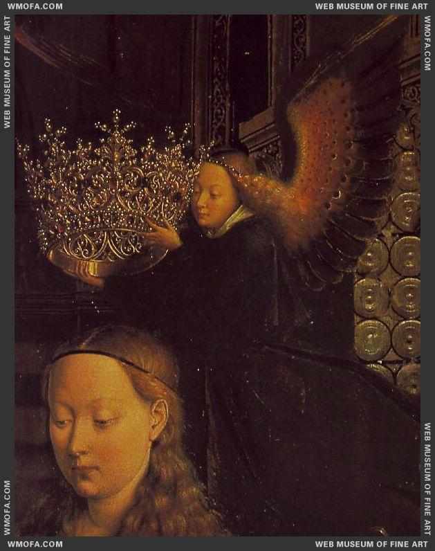 The Virgin of Chancellor Rolin - detail angel bearing crown - 1435 by Eyck, Jan van