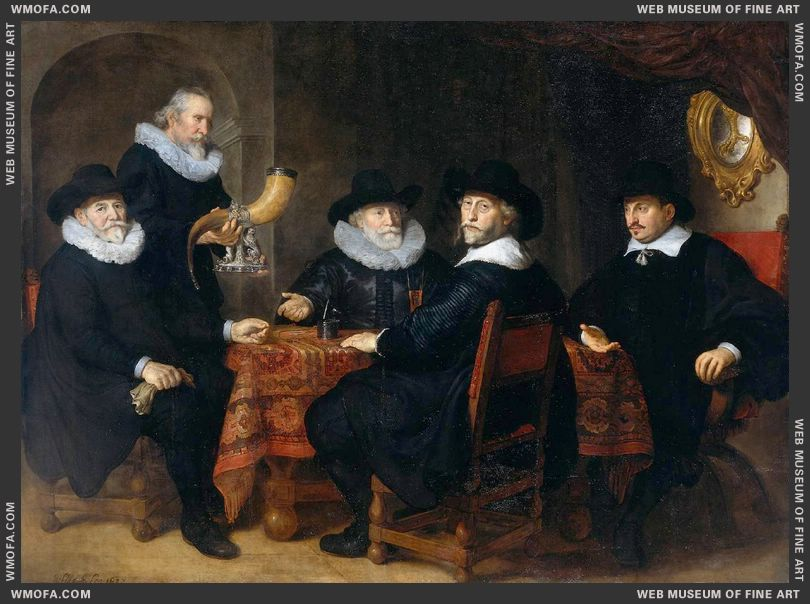 Four Governors of the Arquebusiers Civic Guard 1642 by Flinck, Govert Teunisz