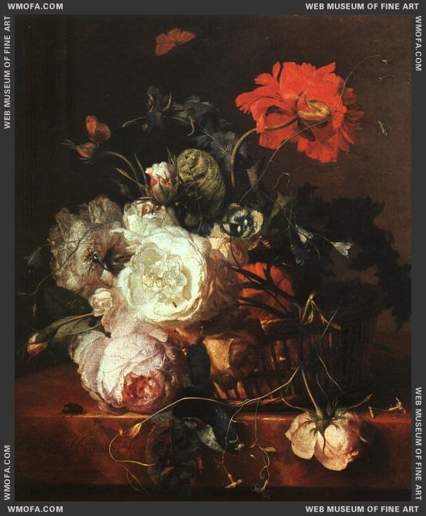 Basket of Flowers by Huysum, Jan van