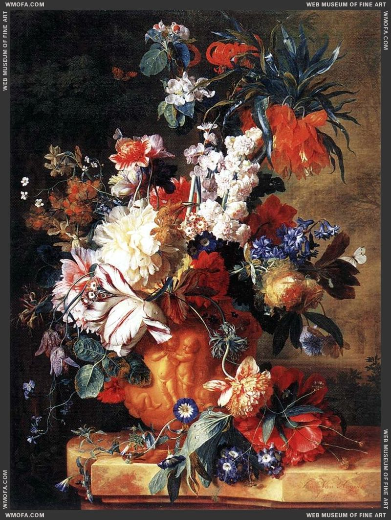 Bouquet of Flowers in an Urn 1724 by Huysum, Jan van