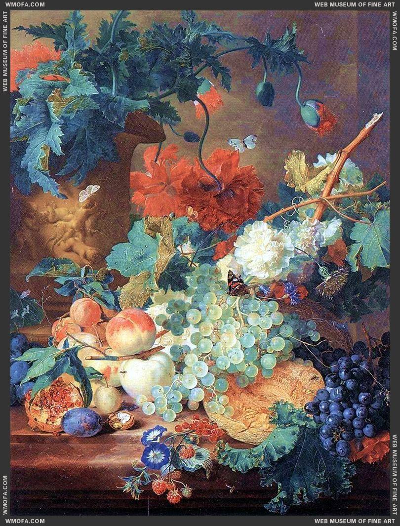 Fruit and Flowers c1720 by Huysum, Jan van