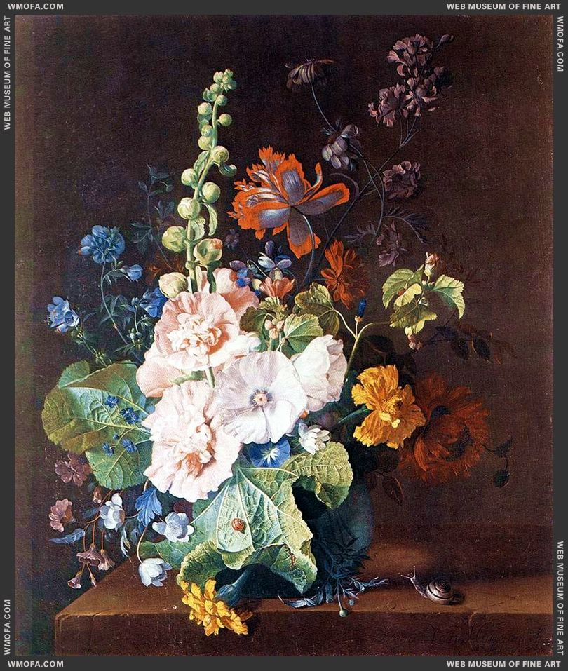 Hollyhocks and Other Flowers in a Vase c1710 by Huysum, Jan van