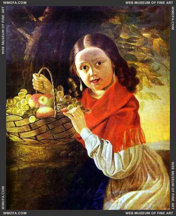Girl with Fruit 1850s by Khrutsky, Ivan