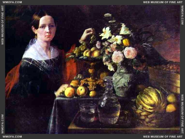 Portrait of an Unknown Woman with Fruit 1838 by Khrutsky, Ivan