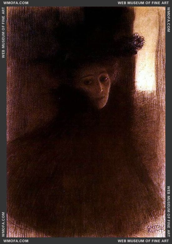 Lady with Cape 1897-1898 by Klimt, Gustav