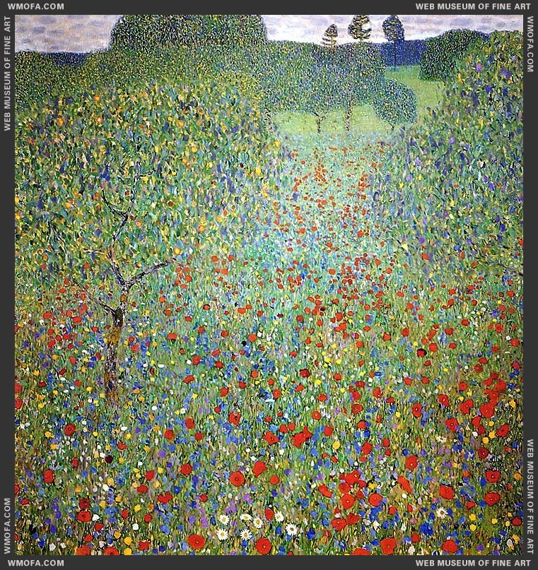 Poppy Field 1907 by Klimt, Gustav