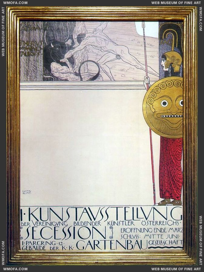 Poster for the 1st Secession exhibition -Lithograph- 1898 by Klimt, Gustav