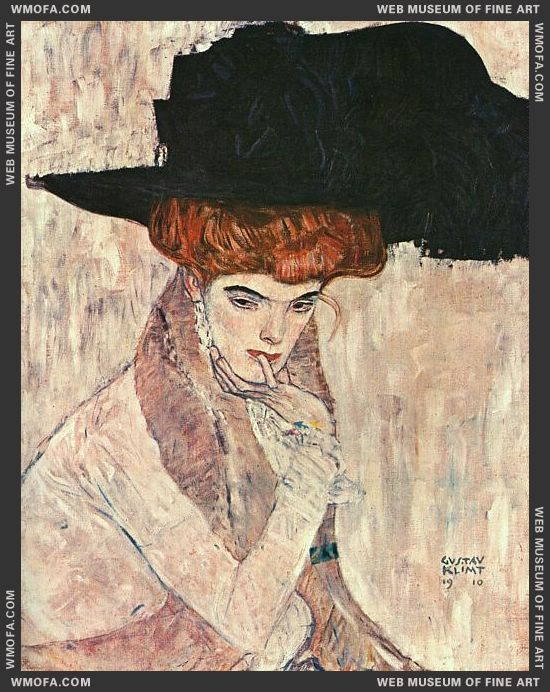 The Black Feather Hat 1910 by Klimt, Gustav