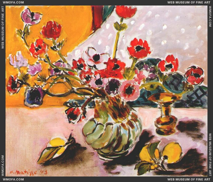 Anemones in Vase 1943 by Matisse, Henri