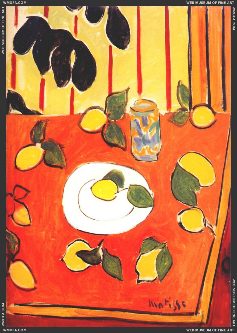 Black Philodendron and Lemons 1943 by Matisse, Henri