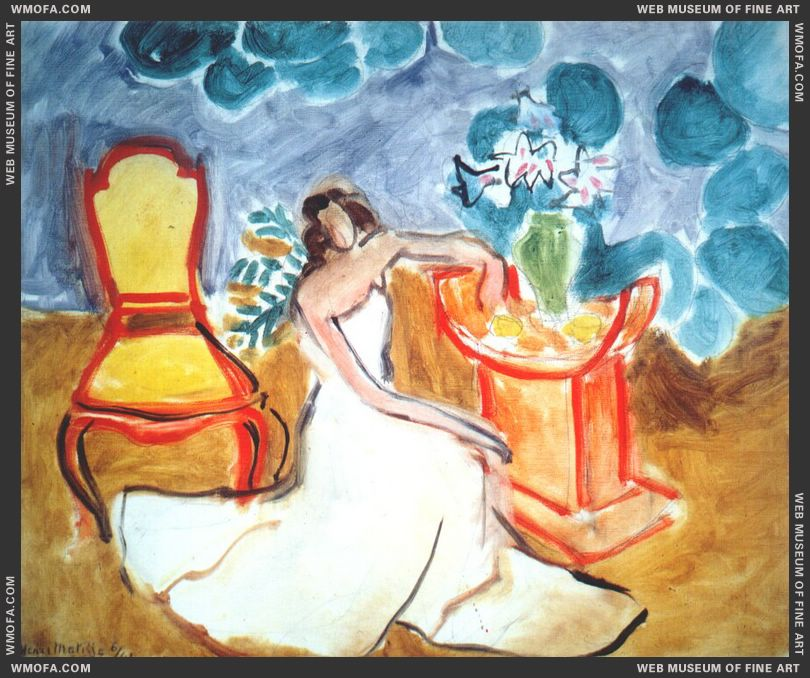 Girl and Amaryllis, Ochre Background 1941 by Matisse, Henri
