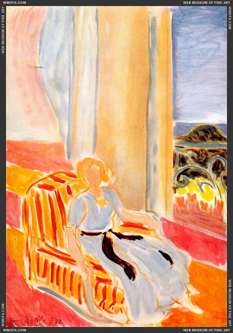 Girl in White Robe Seated by the Window 1942 by Matisse, Henri