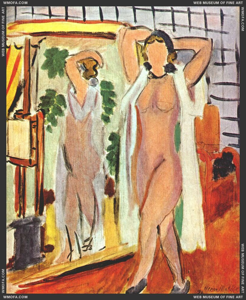 Nude in White Peignoir Standing by Mirror 1937 by Matisse, Henri