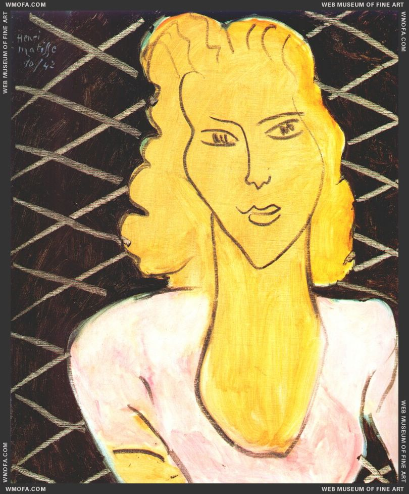 Ochre Head, Lozenge Background 1942 by Matisse, Henri