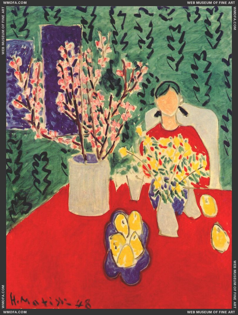 Plum Blossoms, Green Background 1948 by Matisse, Henri