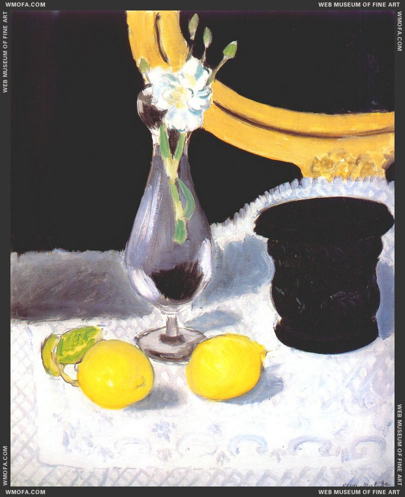 Still Life (Vase of Flowers Lemon and Mortar) 1919 by Matisse, Henri