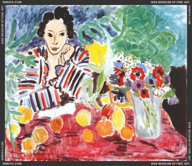 Striped Robe Fruits and Anemones 1940 by Matisse, Henri