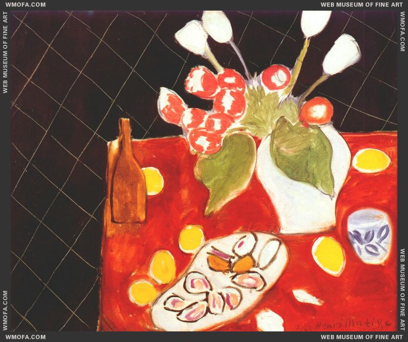 Tulips and Oysters on Black Background 1943 by Matisse, Henri
