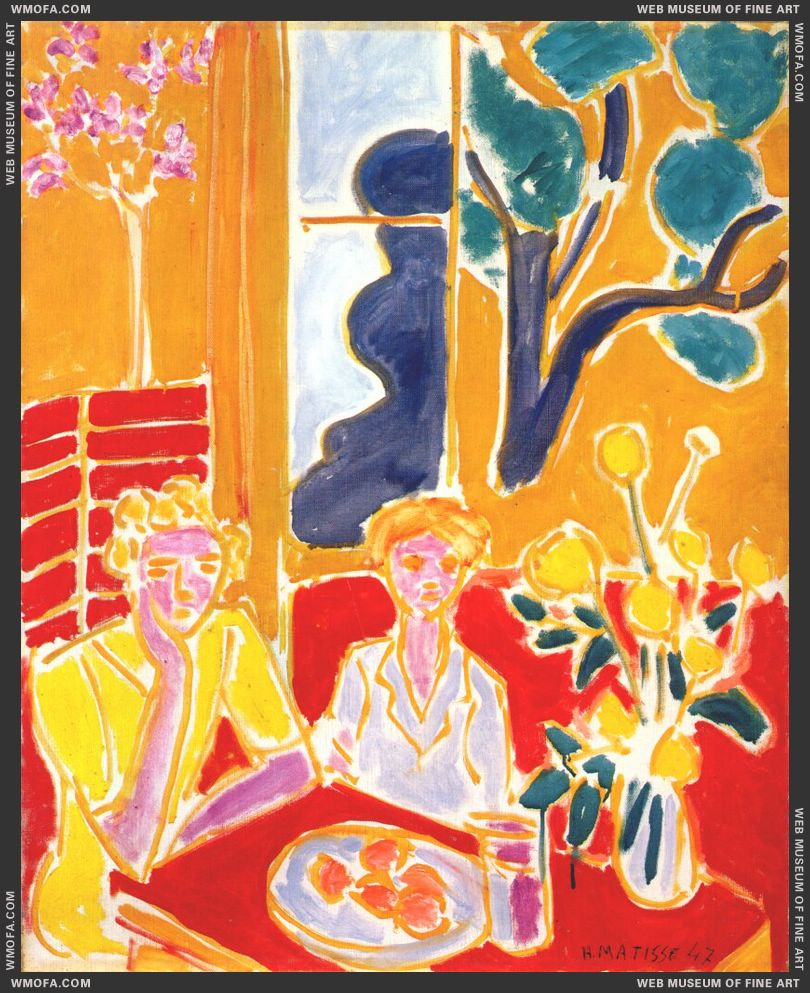 Two Girls in a Yellow and Red Interior 1947 by Matisse, Henri