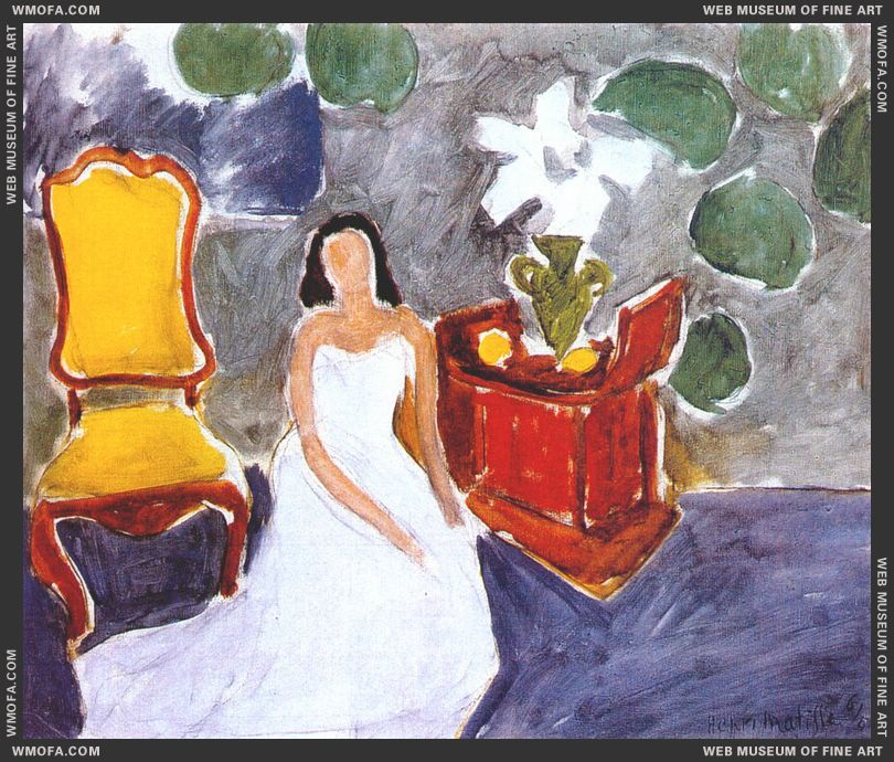 White Dress, Amaryllis, Blue Background 1941 by Matisse, Henri
