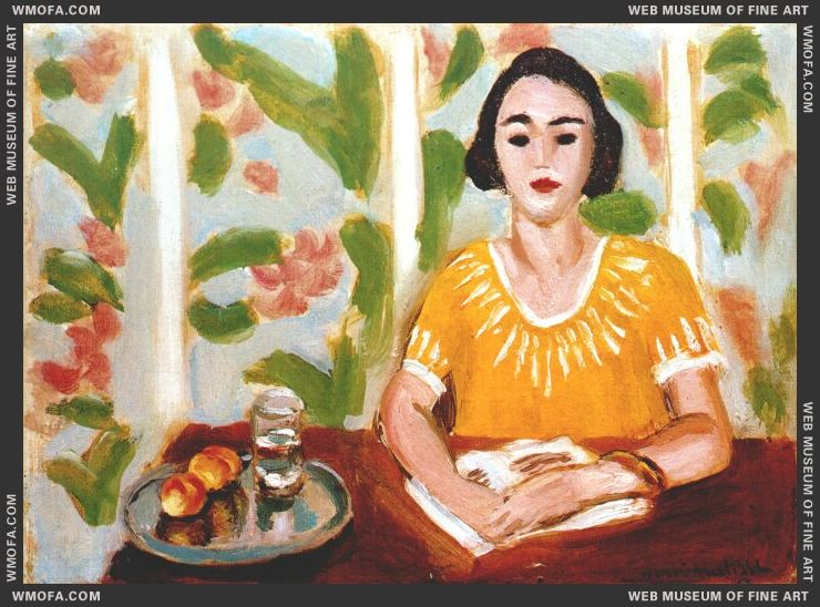 Woman Reading with Peaches 1923 by Matisse, Henri