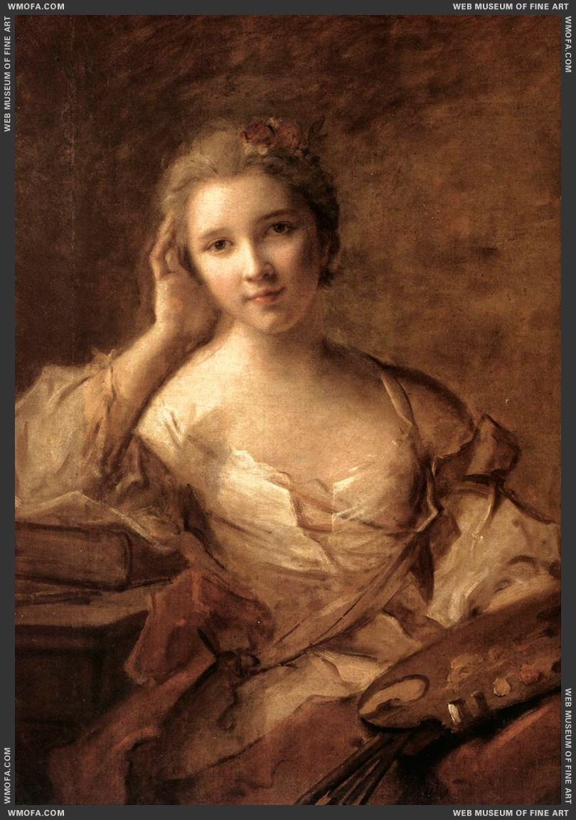 Portrait of a Young Woman Painter by Nattier, Jean-Marc