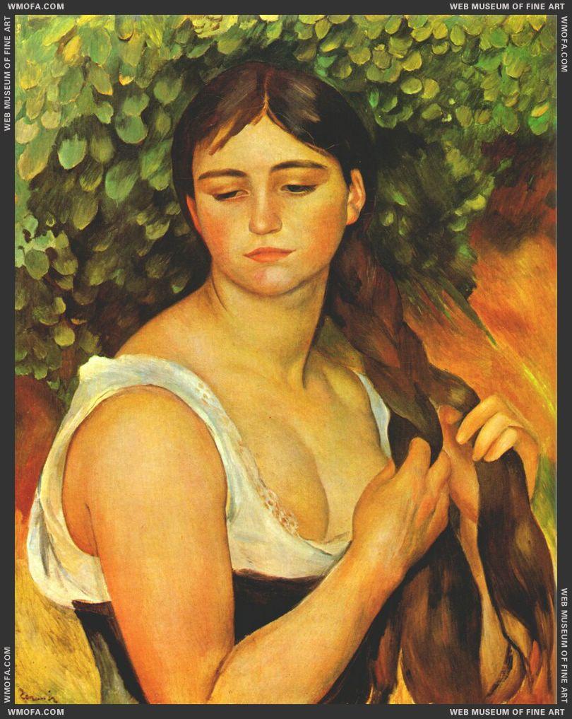Girl Braiding Her Hair by Renoir, Pierre-Auguste