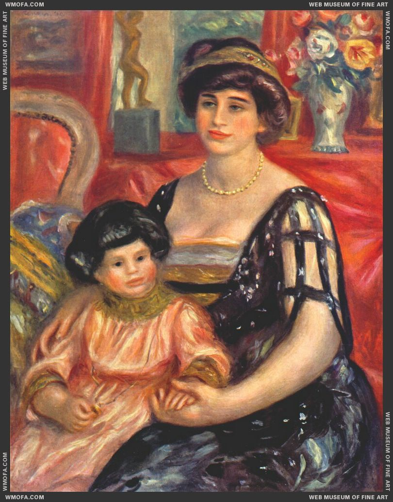 Portrait of Madame Duberville with Her Son Henri by Renoir, Pierre-Auguste