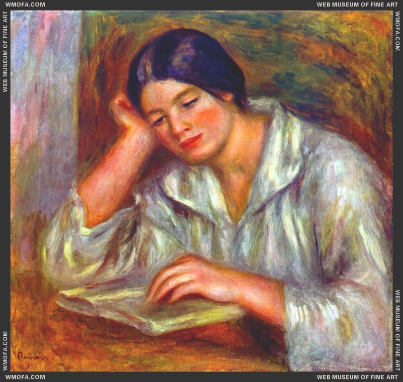 Woman in White, Reading by Renoir, Pierre-Auguste