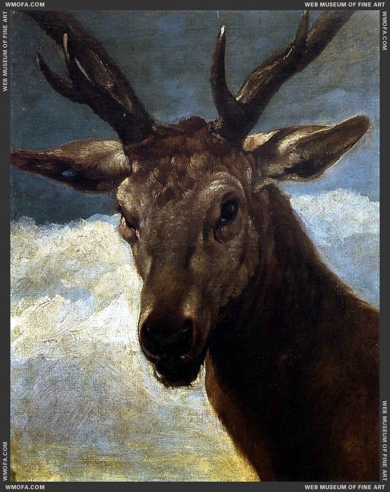 Head of a Stag 1626-1627 by Velazquez, Diego