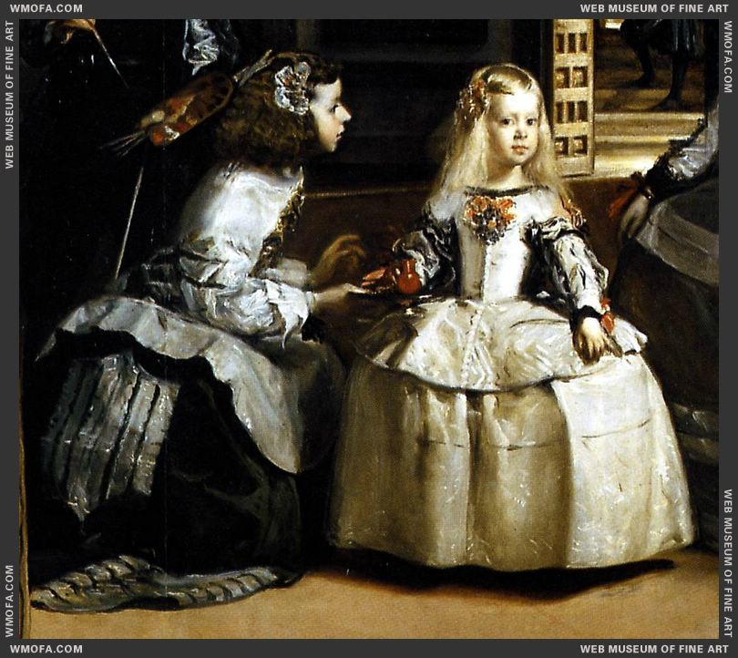 Las Meninas - detail Maria Sarmientio is giving her mistress, the Infanta Margarita water in a bucaro - 1656-1657 by Velazquez, Diego