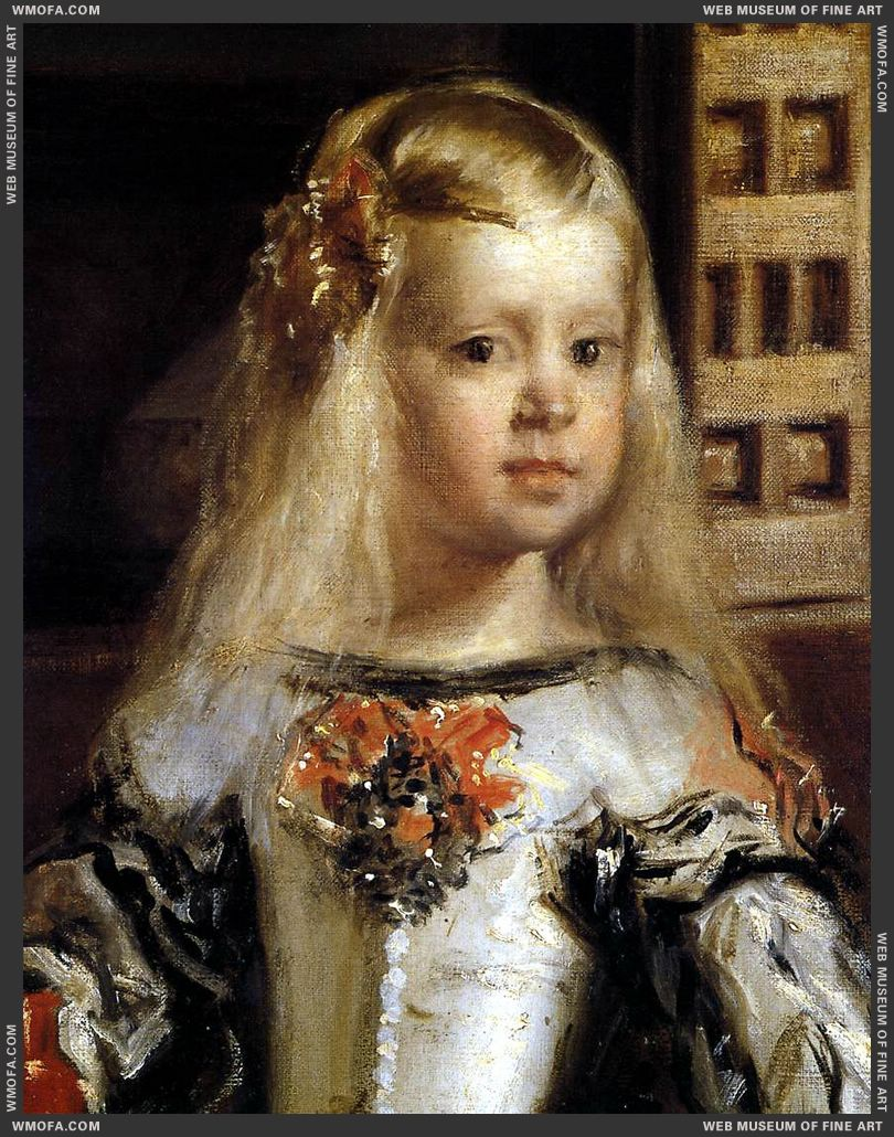 Las Meninas - detail the heiress to the throne, the Infanta Margarita - 1656-1657 by Velazquez, Diego