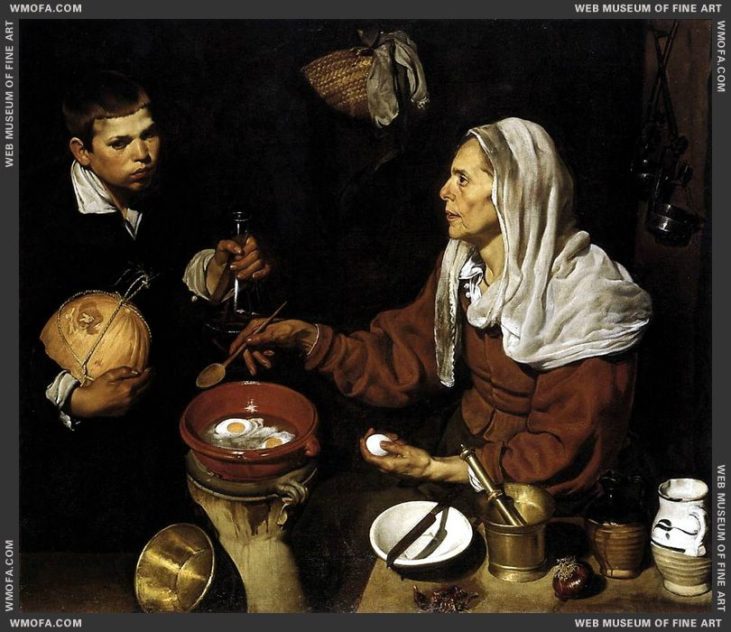 Old Woman Frying Eggs 1618 by Velazquez, Diego