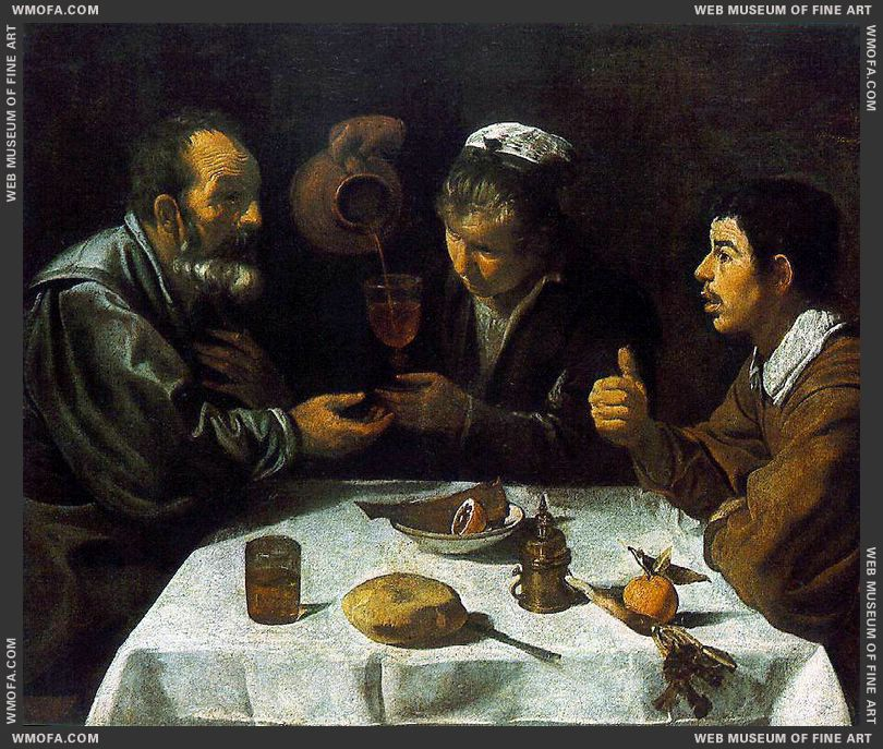 Peasants at the Table - El Almuerzo - c1620 by Velazquez, Diego