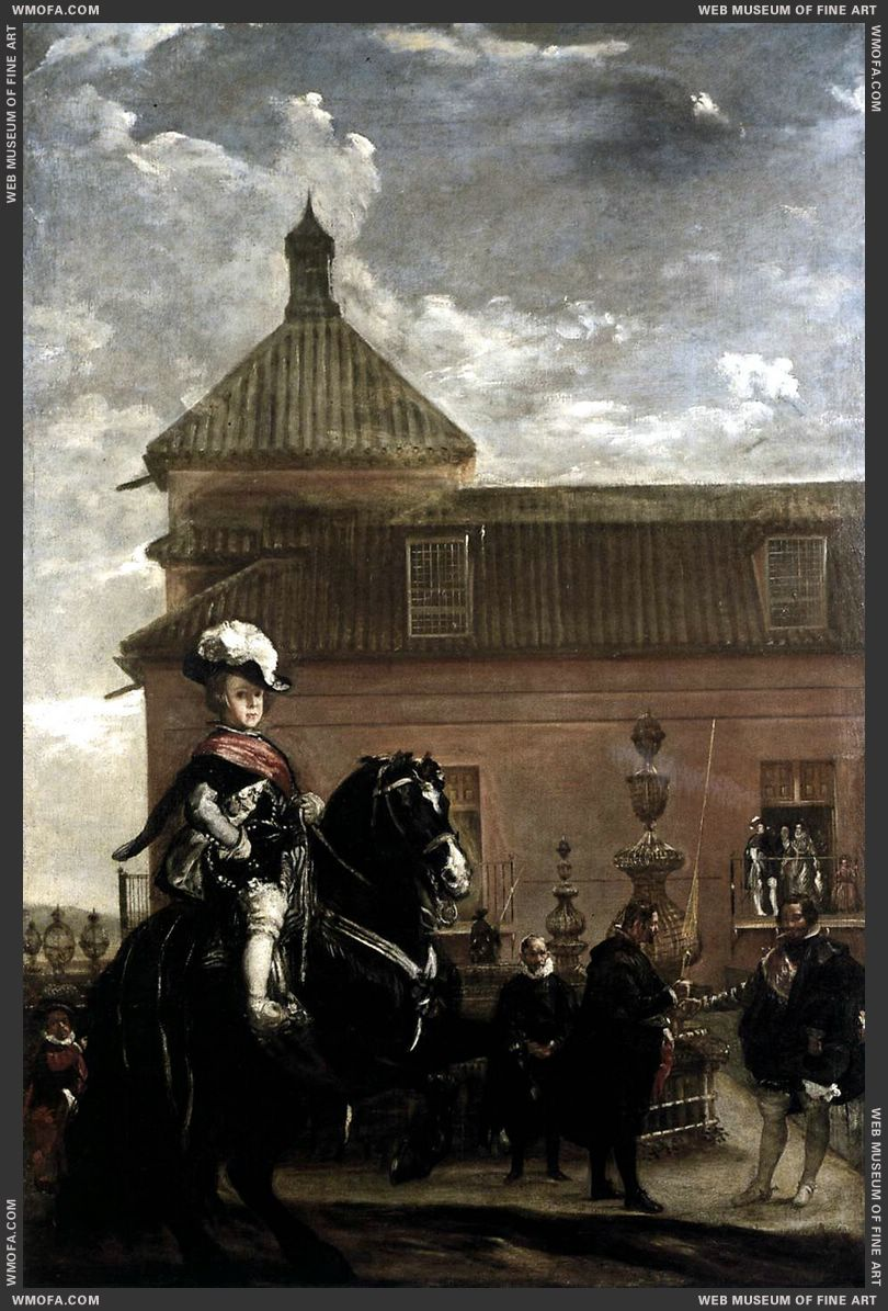Prince Baltasar Carlos with the Count-Duke of Olivares at the Royal Mews c1636 by Velazquez, Diego
