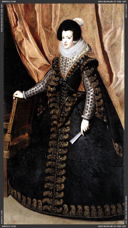 Queen Isabel, Standing 1631-1632 by Velazquez, Diego