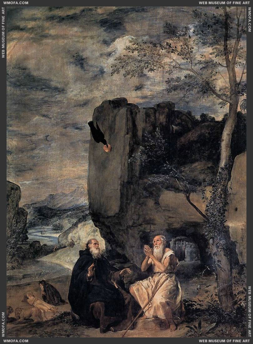St Anthony Abbot and St Paul the Hermit c1635 by Velazquez, Diego