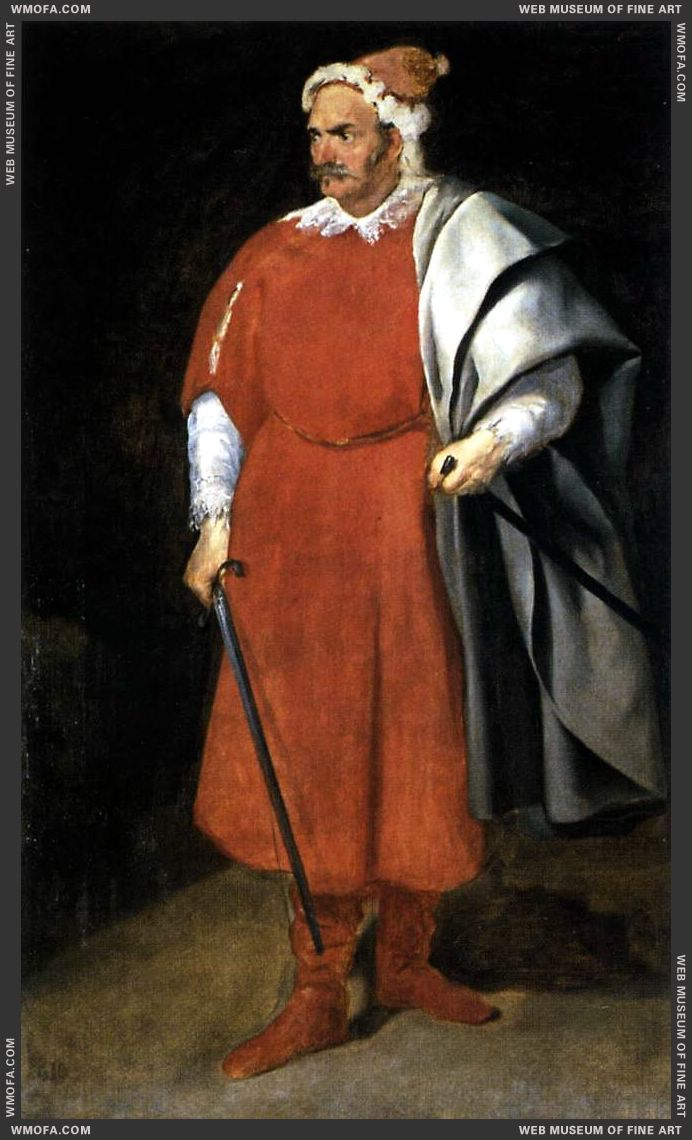 The Buffoon Don Cristobal de Castaneda y Pernia - Barbarroja - 1637-1640 by Velazquez, Diego