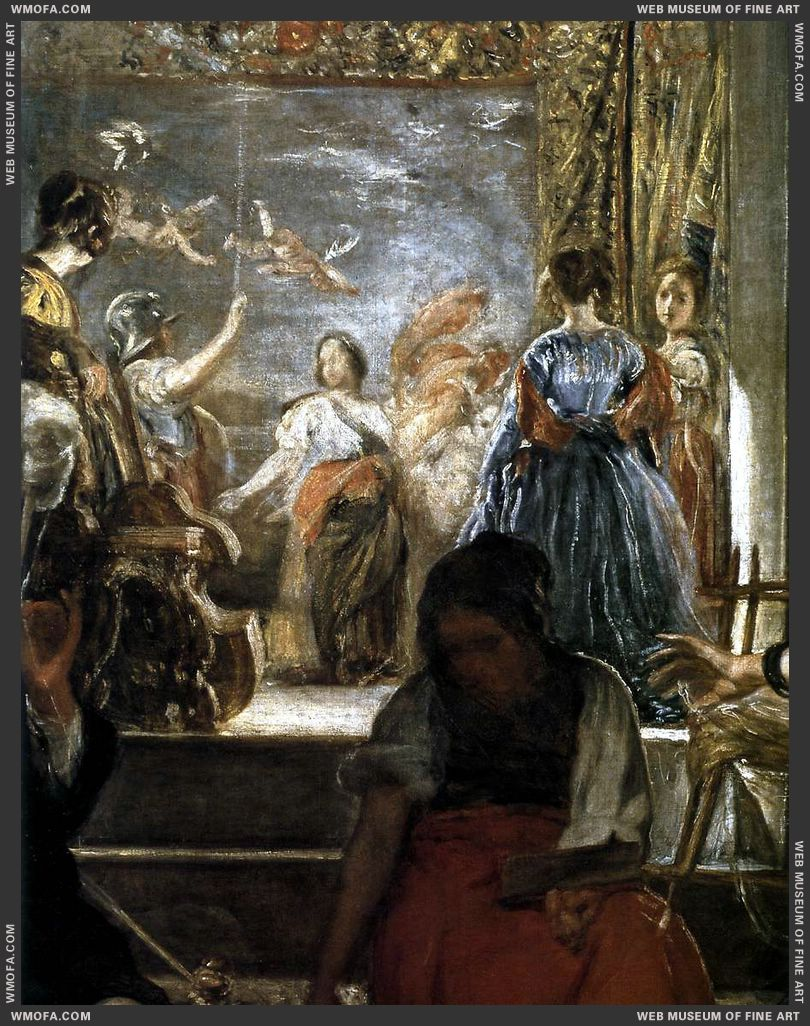 The Fable of Arachne - detail second room in the background flooded with light and elegantly dressed women - c1657 by Velazquez, Diego