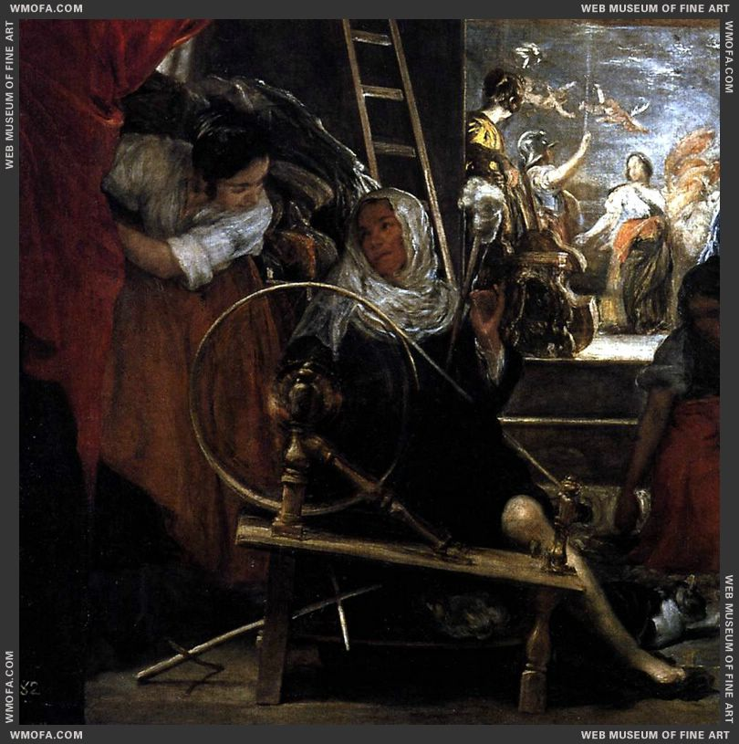 The Fable of Arachne - detail women at work spinning - c1657 by Velazquez, Diego