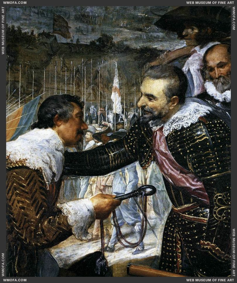 The Surrender of Breda - detail Spinola chivalrously receiving his defeated opponent Justinus of Nassau - 1634-1635 by Velazquez, Diego