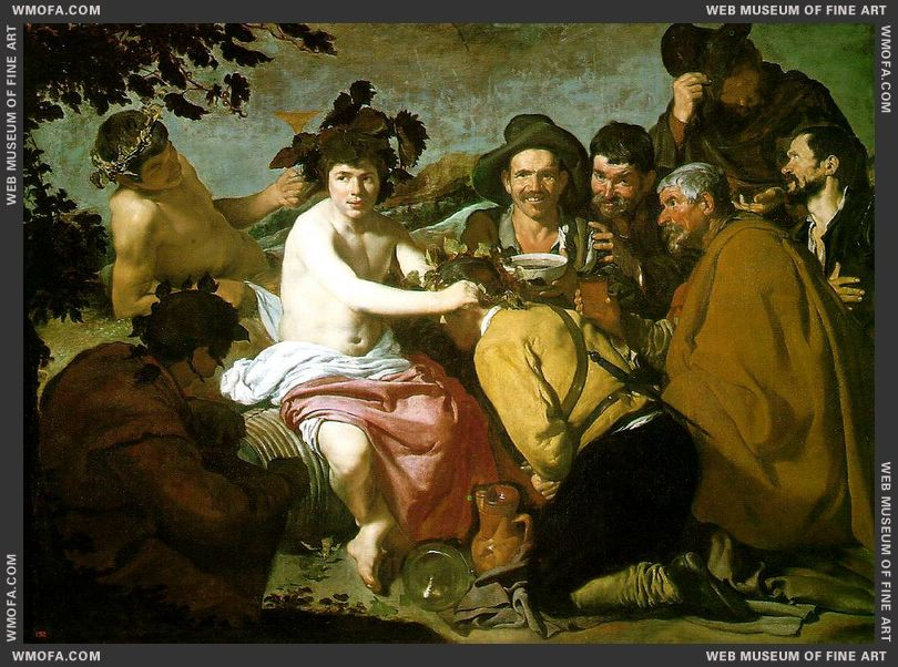 The Triumph of Bacchus - Los Borrachos, The Topers - c1629 b by Velazquez, Diego